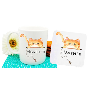 Ceramic coffee mug and drink coaster set personalized ginger cat image front view