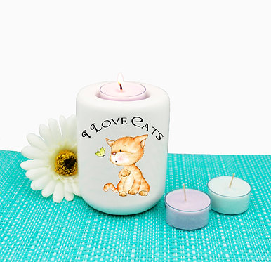 Cat ceramic tealight candle holder I love cats image front view