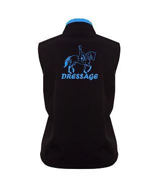 Black with aqua dressage horse image ladies vest back view