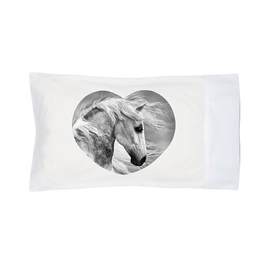 Pillowcase white beautiful white horse image front right view