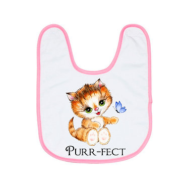 Babies bib with pink trim and cute kitty purr-fect image front view