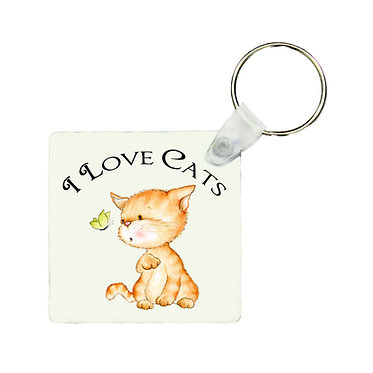Square keyring cat with I love cats image front view