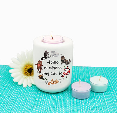 Cat theme ceramic tealight candle holder home is where my cat is image front view