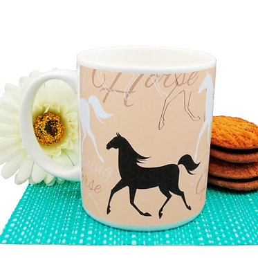 Ceramic coffee mug 11oz with running horse pattern front view