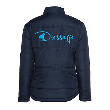 Ladies horse theme adventure puffer jacket navy with aqua dressage image back view