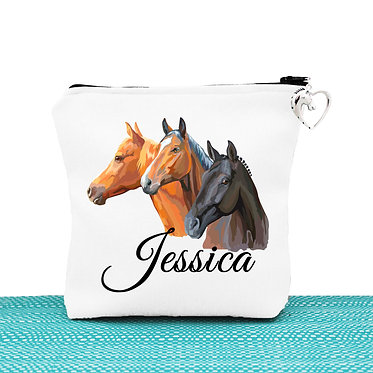 Cosmetic toiletry bag with zipper personalised with three horses image front view