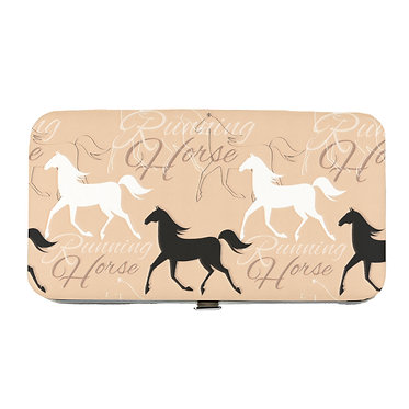 Ladies hard case purse wallet with mobile phone mount inside running horse pattern image view