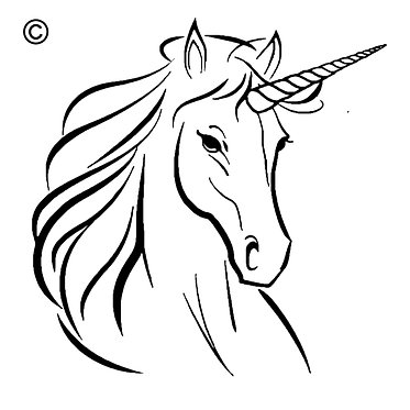Unicorn head with quote flowing mane vinyl decal sticker in black front view