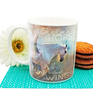"Ceramic coffee mug with horse and quote ""to ride a horse is to fly without wings"" image front view"