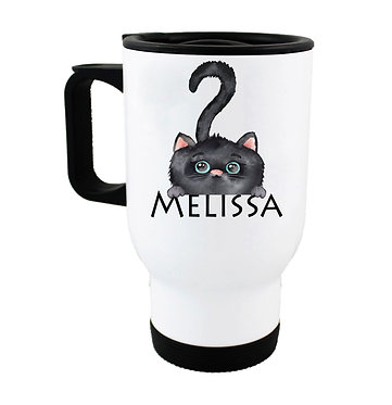Travel mug with personalized cute black cat and name image front view