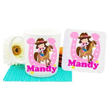 Personalised coffee mug and coaster set cowgirl in hot pink image front view