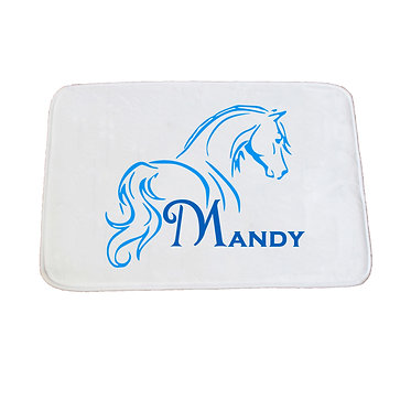 Personalised non-slip bath mat horse looking away blue image front view