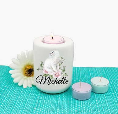 Personalized ceramic tealight candle holder white cat with flowers image front view
