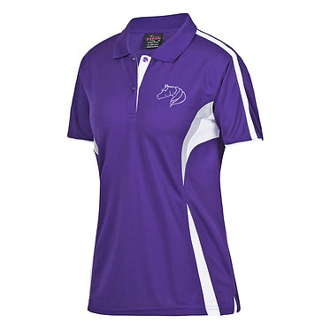 Ladies cool polo shirt purple white free spirit horse image front view