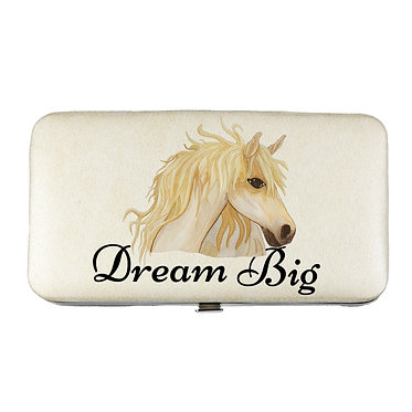 Ladies hard case purse wallet with mobile phone mount inside dream big horse image view