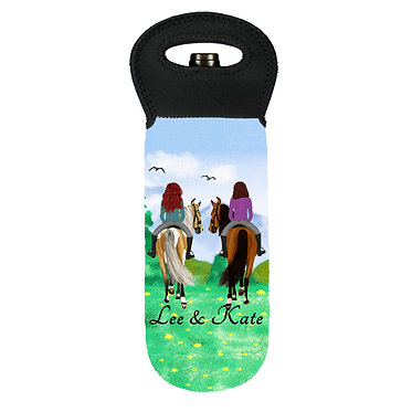 Personalised wine cooler carry bag neoprene best friends horse riding image front view