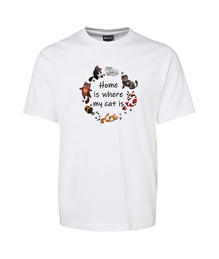 Adults t-shirt white 100% cotton with circle of cats and quote home is where my cat is image front view