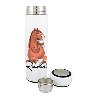 Personalised thermos flask 500ml stainless steel with lid off horse sitting cross-legged image front lid off view