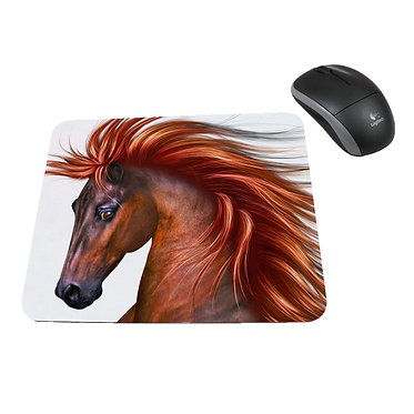 Horse with flowing main computer mouse pad