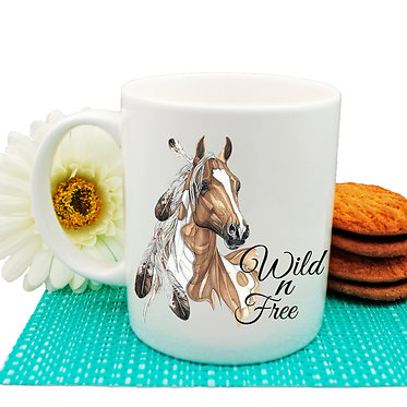 Ceramic coffee mug with paint horse wild n free image front view