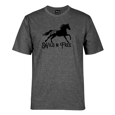 Adults t-shirt charcoal merle Appaloosa horse wild n free front view