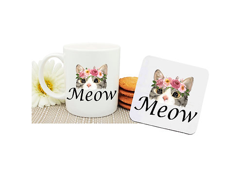 Ceramic coffee mug and drink coaster set cat meow image front view