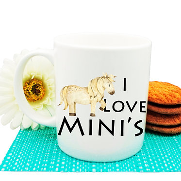 "Ceramic coffee mug with horse and quote ""I love mini's"" image front view"