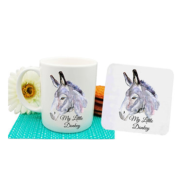 Coffee mug and drink coaster set with donkey image and text my little donkey front view