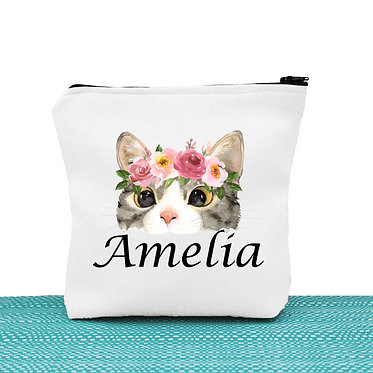 White cosmetic toiletry bag with zipper personalized with name and cat face with flowers image front view