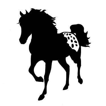 Horse decal sticker black Appaloosa horse front view