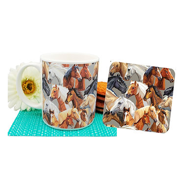 Horse pattern ceramic coffee mug and coaster set front view