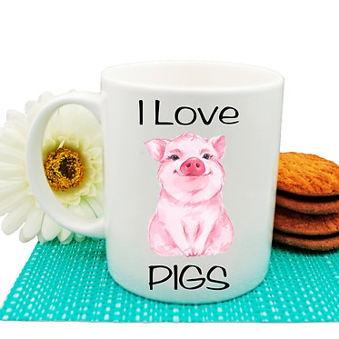 Ceramic coffee mug with i love pigs image front view