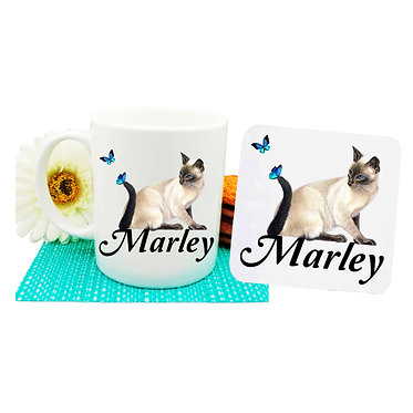 Ceramic coffee mug and drink coaster set personalized cat with butterflies image front view