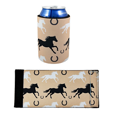 Neoprene stubby cooler with horse pattern image front and flat view