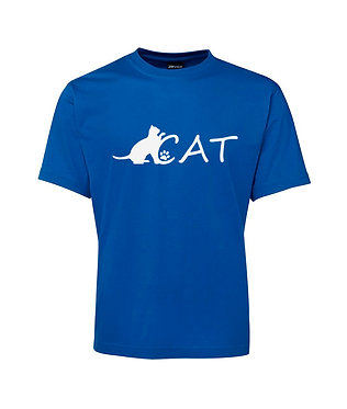Adults t-shirt royal blue cat image front view