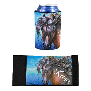 Personalised neoprene stubby cooler fantasy horse image front and flat view