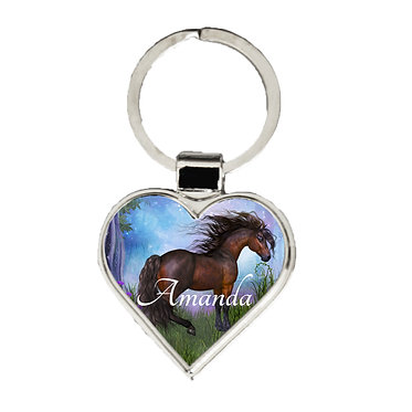 Personalised heart metal key-ring magical horse image front view