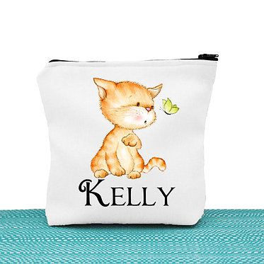 White cosmetic toiletry bag with zipper personalized with name and cute kitty and butterfly image front view
