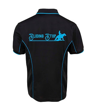 Black men's polo shirt with aqua pipping and image reining horse sliding stop back view