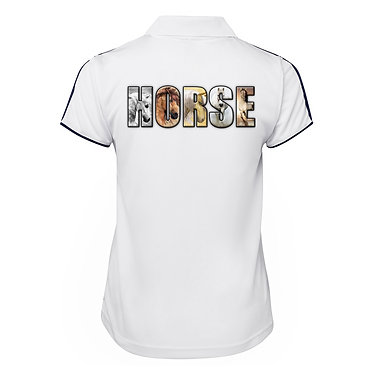 White with dark navy ladies cool polo top horse image back view