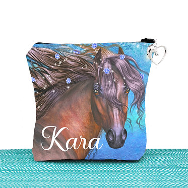 Cosmetic toiletry bag with zipper personalised fantasy horse image front view