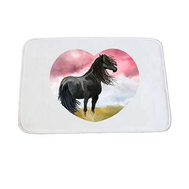 Non-slip bath mat white black horse image front view