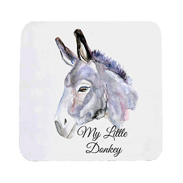 Neoprene drink coaster with donkey image and text my little donkey front view