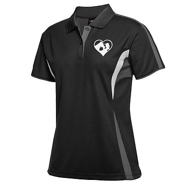 Ladies cool polo shirt black white horse and girl in heart image front view