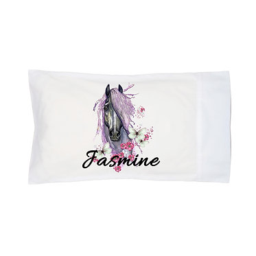 Personalised horse pillowcase purple horse image front right facing view