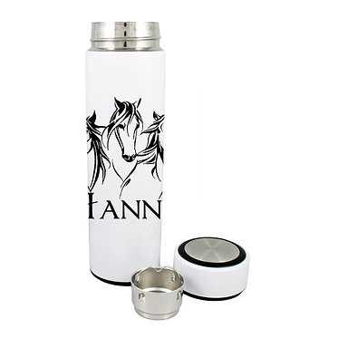 Personalised thermos flask 500ml stainless steel three horses image front lid off view