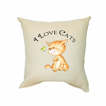 Tan cushion cover with zip 40cm x 40cm cute cat I love cats image front view