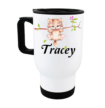 Travel mug with personalized cute kitty on branch and name image front view