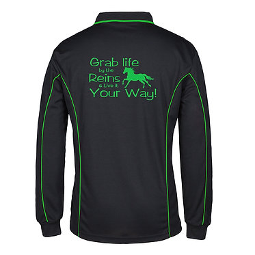 Adults long sleeve polo shirt black green grab life by the reins horse image back view