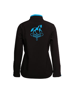 Ladies softshell jacket black with aqua trim and paint horse on scroll image back view